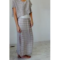 Falda Italiana De Lino Con Pretina Alta Talla S Positano
