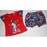 Conjunto Franela Y Short Camisa Rojo Y Negro Ropa Bebe Niña