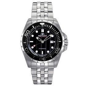 Rotary Agb W-04 Reloj Negro De Acero Para Hombre Aquaspeed