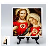 Quadro Azulejo Sagrado Coração De Jesus E Maria