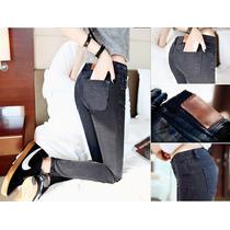 Pantalón De Mezclilla Strech Color Gris Oscuro