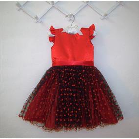 Vestidito De Fiesta Nena Rojo Y Negro