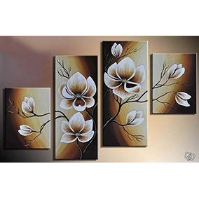 Pintura A Mano Al Oleo 4 Piezas Floral Wieco Art