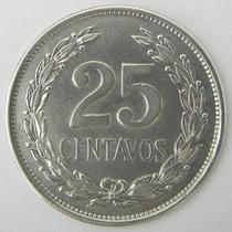 El Salvador 25 Centavos 1943 De Plata 0.900 Excelente +++