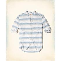 Hollister Camisa Franela Cuello Alto Azul Talla M Originales