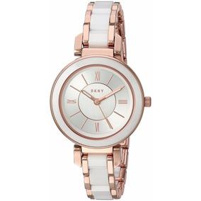 Reloj Dkny Ellington Ny2589 Oro Rosa Ceramic Blanca De Dama  265c97470bb5
