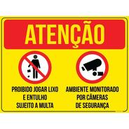 Placa Proibido Jogar Lixo E Entulho Monitor Câmera - 30x40cm