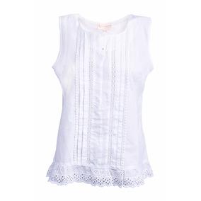 Blusa Blanca Con Festón Sin Mangas