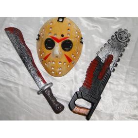 New Kit Do Jason = Mascara + Facão 45cm + Serra Sangue 45cm