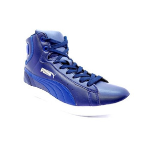 Zapatillas Botitas Puma Vikky Mid Cuero Mujer Azul C/celeste