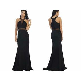Vestido De Fiesta Negro Stretch Transparencia Cintura