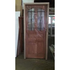 Puerta Cedro Extra Porch 80x200 Con Reja Y Vidrio