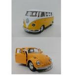 Kit 2 Miniatura Kombi/ Fusca Amarelo 1/32 - Colecione!