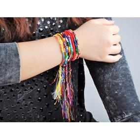 Kit 5 Pulseira Femininas Amizade Corda Hippie Étnica Neon