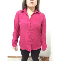 Camisa Feminina Tipo Seda Rosa Modeagem Reta