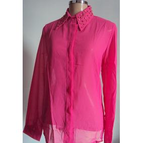 Camisa Chiffon Rosa Com Spikes Na Gola