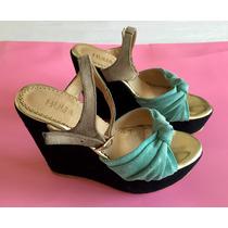 Sandalias De Gamusa Plataforma Taco Chino - Huija - Zapatos