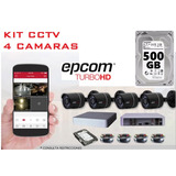 Kit Cctv 4 Cámaras Circuito Cerrad Hd 720p 500gb Hikvision