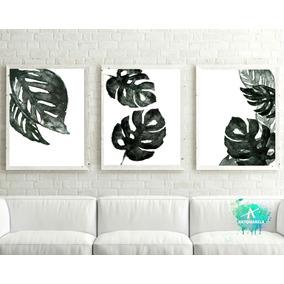 set tres lminas botnica hojas tropicales blanco y negro - Cuadros En Blanco Y Negro