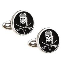 Mancuernillas Craneo Pirata Calavera Camisa Plateado Negro