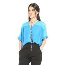 Blusa Chiffon Azul Con Encajes Superior Y Botones