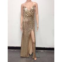 Vestido Festa Sexy Em Paetê Dourado Importado Pronta Entrega