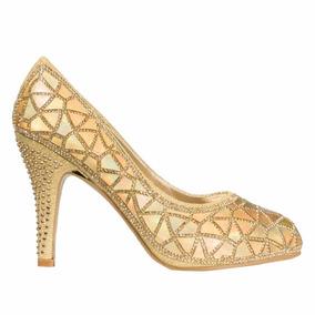 Zapatos Mujer Luis Xv Taco Alto Dorados Sintetico De Fiesta