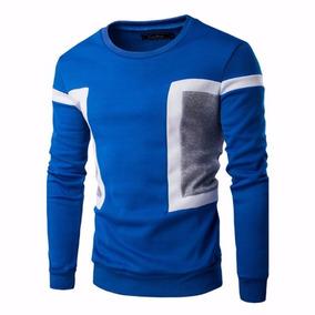 Camisa Blusa De Moletom Manga Longa Masculina Azul