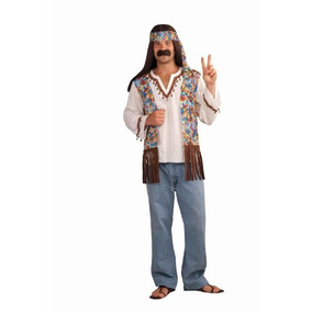 Foro Novelties Hombre Groovy Hippie Traje Camisa Y La Cabez