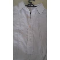 Camisa Vr Menswear Masculina Branca, Bordada Em Cinza Claro
