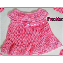 Vestido Princesa De Crochê Pra Bebê Rosa Pronta Entrega Novo
