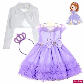 Vestido Princesa Sofia Chique Festa Infantil Coroa E Bolero