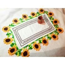 Mantel Servilleta Bordado Punto De Cruz Y Tejido Crochet
