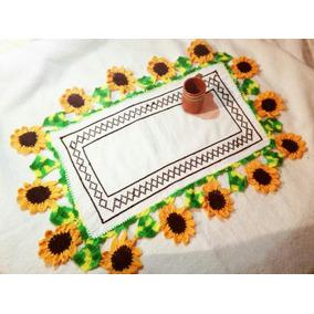 Mantel Bordado Punto De Cruz Y Tejido Crochet Envió Gratis
