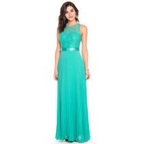 Vestido Festa Longo Casamento Madrinha Tiffany Verde Azul