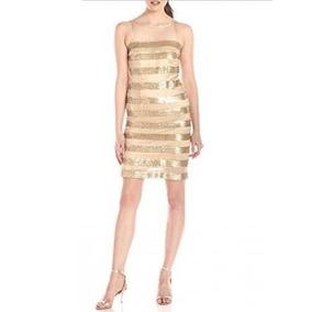 Vestido De Noche Lentejuela Marca Minuet Talla L Mujer Gold