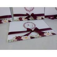 Convite Casamento Marsala Floral  -10  Unidades