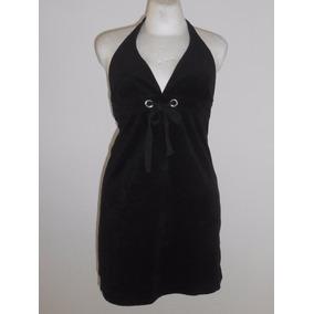 Venus Vestido Negro Tela Tipo Toalla Corte Imperio Talla S