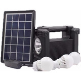 Kit Solar Bluetooth Fm 3 Focos Led Panel Cargador Portatil