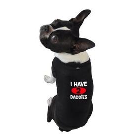 Camisa Para Perro Camisetas Sin Mangas, Tengo 2 Papás, Negr