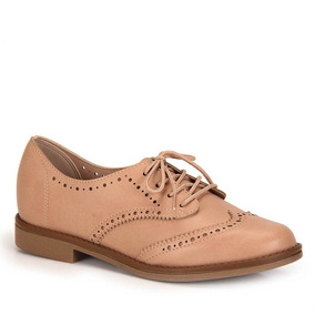 Sapato Oxford Conforto Beira Rio Brogues - Nude
