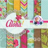 Kit Imprimible Fondos Hawaianos Playa Flores Aloha Boda