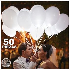 50 Globos Con Luz Led Blancos Decoración Fiesta Boda Eventos