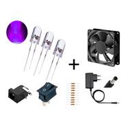 Kit 12 Led 5mm Ultravioleta+resistor+fonte +fan+conectores