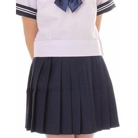 Falda Cosplay Uniforme Disfraz Plizada Azul Envio Gratis