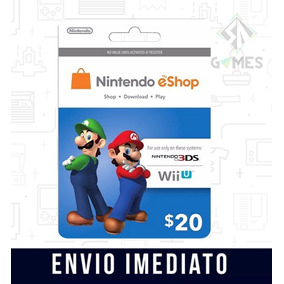 Cartão Nintendo Usa 3ds Wii U Eshop Cash Card $20 Dólares -