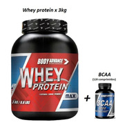 Whey Protein 3 Kg  ( Proteína Pura ) + Bcaa 120 Comprimidos. Body Advance