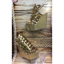 Zapato Sandalia Moda Plataforma Color Dorado Mujer Dama
