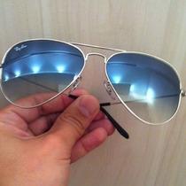 Óculos Ray Ban Lente Azul Degrade Armaçao Prata