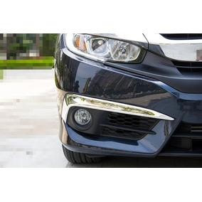Moldura Farol Auxiliar Cromada Em L Honda Civic 2017 02pçs